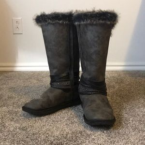 Women's Just Fab Tall Grey Fuzzy Boots